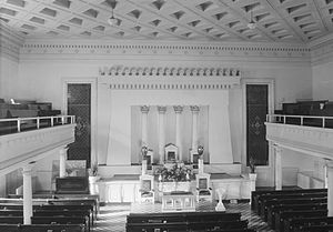 Government Street Presbyterian Church - The interior as seen from the rear gallery, looking toward the altar, in 1934.
