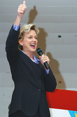 Jennifer Granholm - Granholm addressing troops returning to Michigan following a tour in Iraq, December 2005