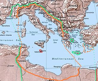 "Italian Libya - Italian Libya as the Fourth Shore was the southern part of ""Imperial Italy"" (orange borders), a Fascist project to enlarge Italy's national borders"