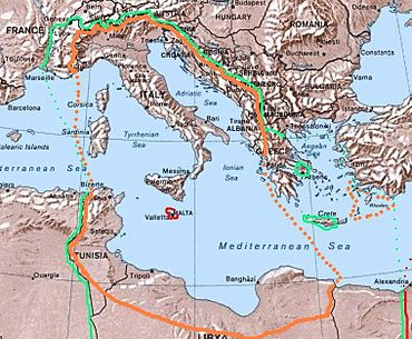Libya To Italy Map.4th Shore Wikipedia
