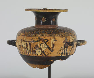 Biga (chariot) - The bigae of Achilles and Memnon, each drawn by one white horse and one black horse (hydria, 575–550 BC)