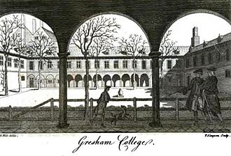 Gresham College and the formation of the Royal Society - Gresham College, the court with figures in eighteenth-century dress.