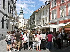 Group of tourists on street in Bratislava.JPG