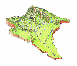 Guadalupe River (California) - Tributary creeks of the Guadalupe River watershed 3D Topo Map
