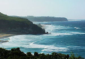 View of the Guajataca Tunnel and coast line of Guajataca Beach