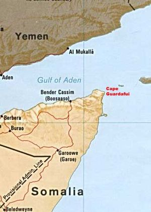 English: Map showing Cape Guardafui
