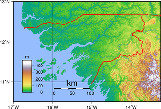 Outline of Guinea-Bissau - An enlargeable topographic map of Guinea-Bissau