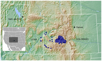 Gunnison grouse - Image: Gunnison Grouse Centrocercus minimus distribution map 3