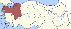 Location of Hüdavendigâr Eyaleti
