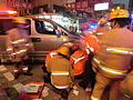 HK Cheung Sha Wan Night Cheung Wah Street Un Chau Street traffic accident Firefighters at work Nov-2013 06.JPG