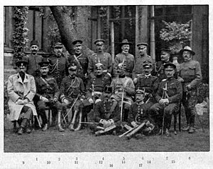 William P. Biddle - Foreign observers during German military maneuvers in 1904. Biddle is in the back row, fourth from the right.