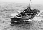 """HMS FORMIDABLE """"ON THE JOB"""". OCTOBER 1943, ON BOARD FORMIDABLE, AT SEA WITH OTHER SHIPS OF THE ROYAL NAVY. HER PLANES ARE THE `EYES' OF THE FLEET, WATCHING FOR U-BOATS AND READY TO WARD OFF ATTEMPTED AIR ATTACK A19837.jpg"""