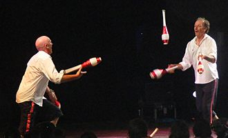 Juggling convention - Haggis and Charlie at the 2009 Glastonbury Festival.