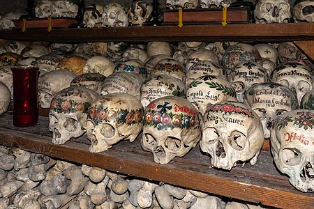Skulls and bones in the ossuary of Hallstatt, Upper Austria