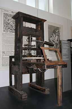 The spread of paper and printing to the West, as in this printing press, helped scientists and politicians communicate their ideas easily, leading to the Age of Enlightenment; an example of technology as cultural force. Handtiegelpresse von 1811.jpg