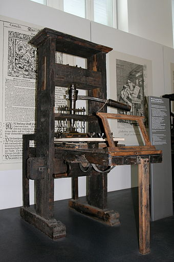The spread of paper and printing to the West, as in this printing press, helped scientists and politicians communicate their ideas easily, leading to the Age of Enlightenment; an example of technology as cultural force.