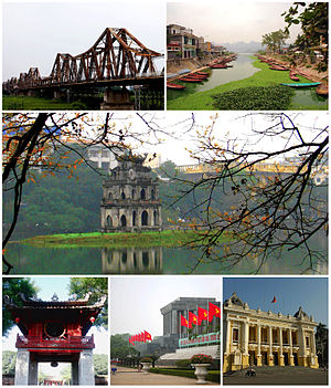 Searah jarum jam dari kiri: Menara Turtle di Danau Hoan Kiem, di pusat kota Hanoi; Ho Chi Minh Mausoleum; Hanoi Opera House; senja hari di Red River dari Long Bien Bridge; Temple of Literature; One Pillar Pagoda