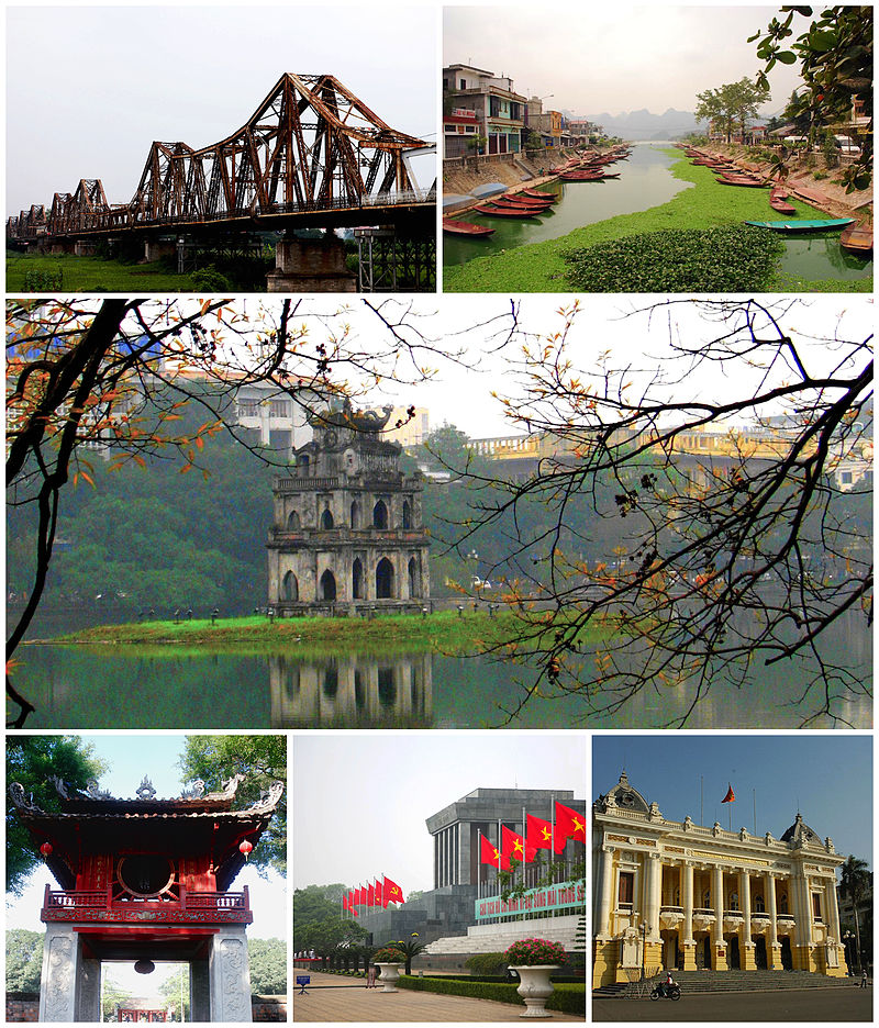 Clockwise from left: Long Biên Bridge, Boat wharf near Perfume Temple, Turtle Tower, Hanoi Opera House, Ho Chi Minh Mausoleum, Temple of Literature