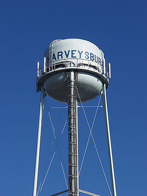 Piture of the blue water tower in Harveysburg,...