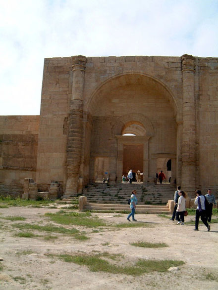 A barrel vaulted iwan at the entrance at the ancient site of Hatra, modern-day Iraq, built c. 50 AD Hatra (17).jpg