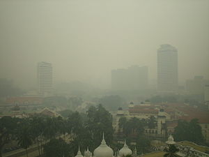 Environment of Malaysia - The 2005 Malaysian haze over Kuala Lumpur. Haze is one of the most serious environmental issues in Malaysia.