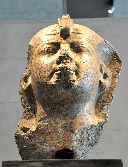 Head of Hatshepsut wearing the royal headdress. 18th Dynasty, c. 1460 BC. State Museum of Egyptian Art, Munich Head of Hatshepsut wearing the royal headdress. 18th Dynasty, c. 1460 BC. State Museum of Egyptian Art, Munich.jpg