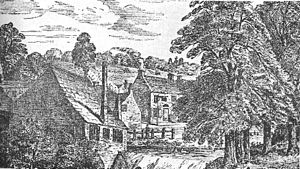 Heeley - Heeley Bottom from across the River Sheaf in about 1825. The White Lion on London Road is in the background.