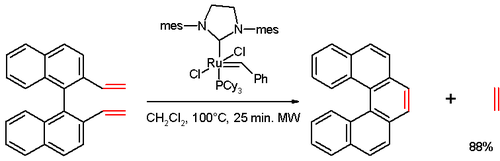 Helicene synthesis by olefin metathesis