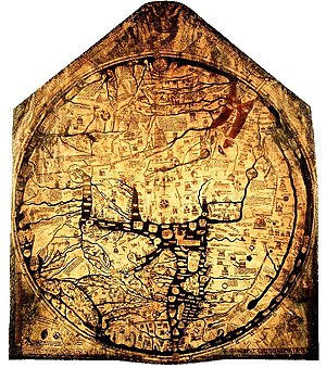 "T and O map - The Hereford Mappa Mundi, about 1300, Hereford Cathedral, England.  A classic ""T-O"" map with Jerusalem at center, east toward the top, Europe at bottom left and Africa on the right."