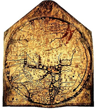"Map - The Hereford Mappa Mundi from about 1300, Hereford Cathedral, England, is a classic ""T-O"" map with Jerusalem at centre, east toward the top, Europe the bottom left and Africa on the right."
