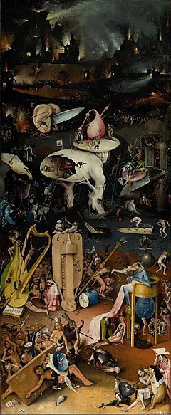 Hell as depicted in Hieronymus Bosch's triptych The Garden of Earthly Delights (cca 1504).