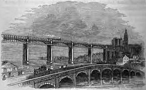 Tyne Bridge - The 1781 stone bridge, with the High Level Bridge in the background, from an 1861 illustration