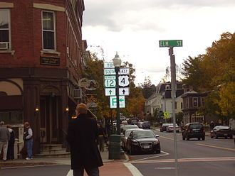 U.S. Route 4 in Vermont - West junction with VT 12 in the center of Woodstock