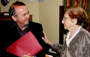 Ian Hislop - Ian Hislop chats to a resident at Nightingale House, London, in 2008.