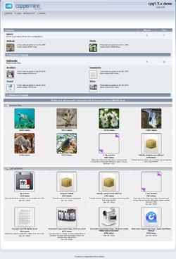 Скриншот демо-страницы Coppermine 1.5