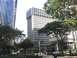 View of downtown Honolulu at Bishop and King streets with First Hawaiian Center building (left) and Bank of Hawaii (right)