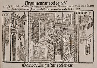 Horace in his Studium: German print of the fifteenth century, summarizing the final ode 4.15 (in praise of Augustus). Horaz beim Studium.jpg