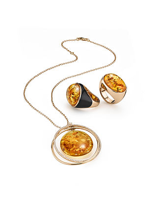 House of Amber - Image: House of Amber Bond of Orbit necklace with two rings from the collection Enlightened Enamel
