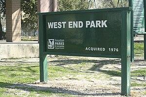 West End (Houston) - West End park sign