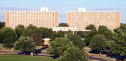 Hubbard Hall is a twelve-story residence hall on the eastern edge of campus. It is MSU's second tallest building, surpassed by Spartan Stadium
