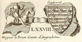 Hugh X of Lusignan - Seal of Hugh X of Lusignan, showing him in hunting costume holding a small hunting dog behind the croup of his saddle, following the  usual imagery in the seals of his family