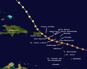 Track of Hugo in the Caribbean