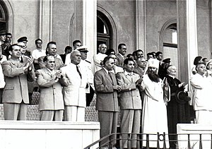 Orthodox Church in Communist Romania - Patriarch Justinian with the Communist Party leadership at the World Youth Festival, 1953