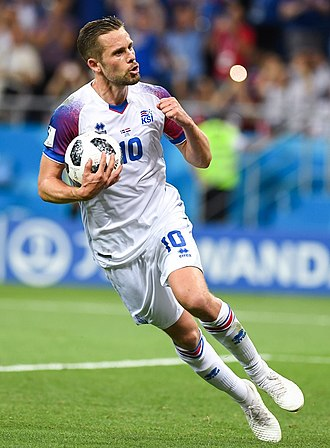 Icelandic Footballer of the Year - Gylfi Sigurðsson, pictured here at the 2018 FIFA World Cup, is a eight-time winner of the men's award.