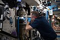 ISS-55 Ricky Arnold performs maintenance on the Advanced Colloids Experiment Module.jpg