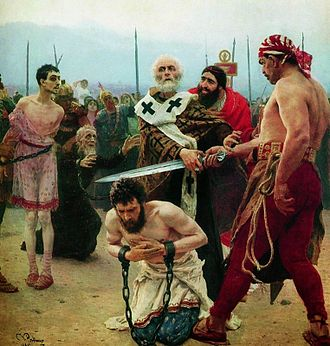 Myra - Saint Nicholas of Myra Saves Three Innocents from Death (oil painting by Ilya Repin, 1888, State Russian Museum).