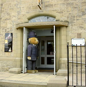 Ilkley Toy Museum - Teddy bear standing outside Ilkley Toy Museum
