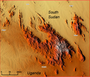Imatong Mountains - Relief map of the Imatong Mountain Range (in false colors).