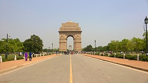 India Gate - India Gate from Rajpath, showing the curvature of the structure