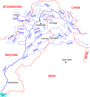 English: Indus river and tributaries, data bas...